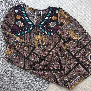 Xhilaration - Long Sleeve Embroidered Maxi Dress
